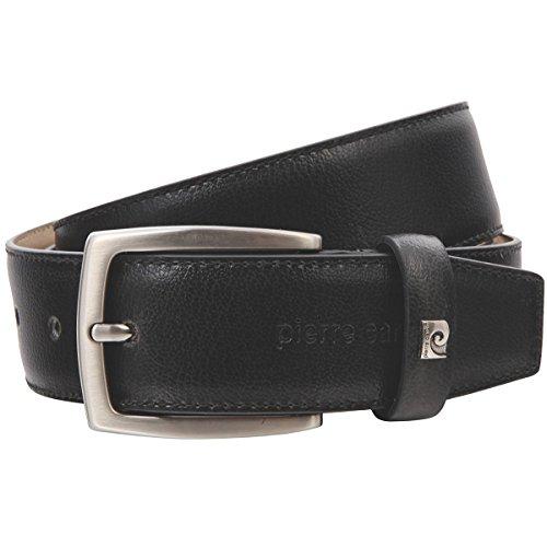Pierre Cardin Mens leather belt/Mens belt, leather belt curved, black