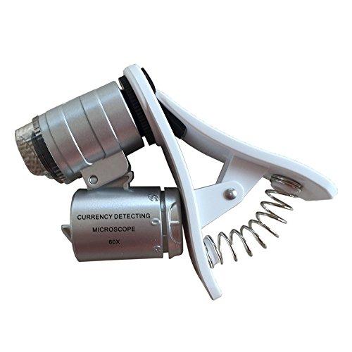 Handy-Mikroskop 60X Zoom Lupe Objektiv Teleskop Universal Klipp Silberfarben - Handy-mikroskop