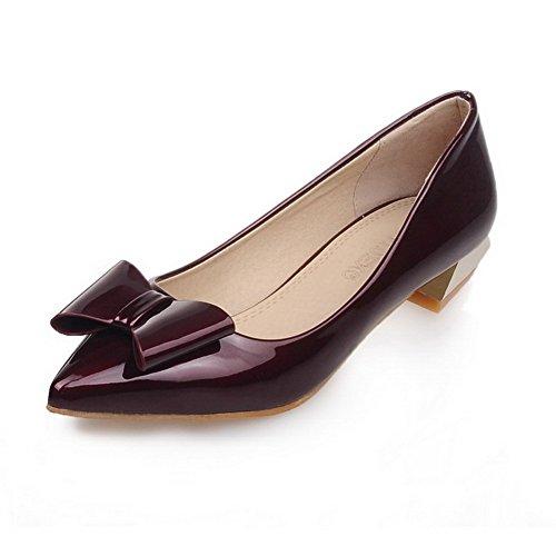 VogueZone009 Damen Niedriger Absatz Lackleder Rein Ziehen Auf Spitz Zehe Pumps Schuhe Rot