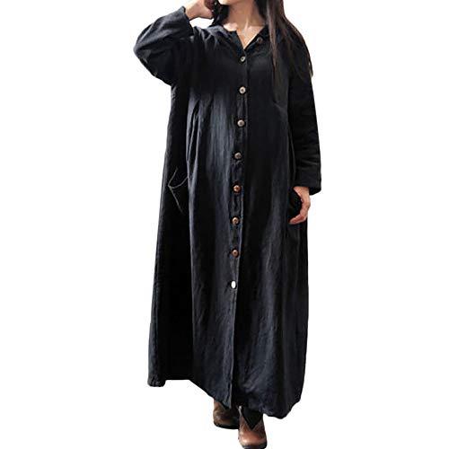(❤Damen Leinen Hemdkleid Lang Kleid Mit Kapuze Elegant Hemdbluse Hemd Kleider Damen Leinenkleid Freizeithemd Schwarzes Kleid T Shirtkleid für Damen Rockabilly Kleid Mosstars)