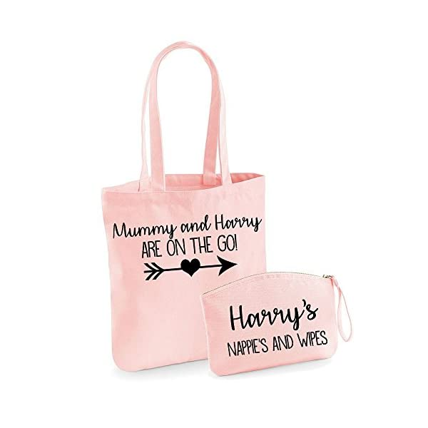 Personalised Mum and Baby Organic Tote bag and Pouch Set Personalised Baby Bag Personalised Baby Gifts Baby Bags Nappy Bags - handmade-bags