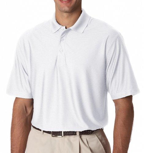 Adult Cool & Dry Elite prestazioni Tonal Stripe Polo White