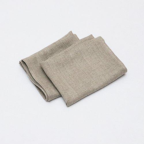 Linenme Torchons, 42x70 cm, en lin naturel, collection Lara, Set de 2