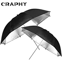 CRAPHY 2 piezas de 33 pulgadas / 84 cm 2 en 1 Plata y Negro Reflejo Iluminación paraguas conjunto para Flash Profesional Foto Estudio Retrato Fotografía