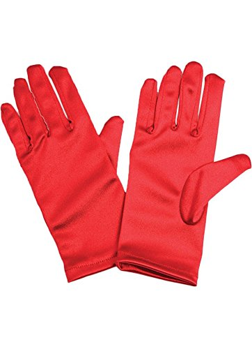 Neue Damen Rot Stretch Satin Handgelenk Handschuhe Opera Hen Night Party Wear Handschuhe Zubehör eine Größe passend für die meisten (Handschuhe Stretch-spitzen Handgelenk)