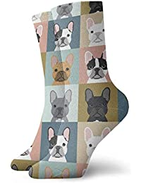 e779ee50ae5 French Bulldog Pattern Men Women Novelty Funny Crazy Crew Sock Printed Sport  Athletic Socks 30cm Long