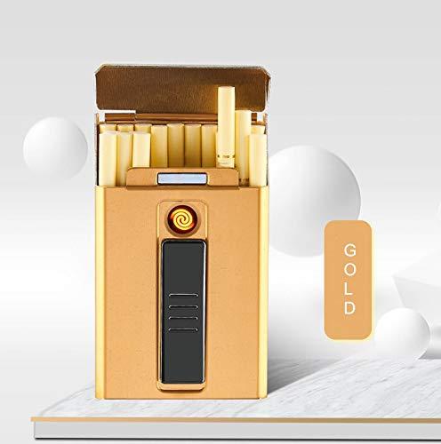 20pcs Slim Zigarettenetui mit Feuerzeug wasserdichte Metallgehäuse Box USB Elektronik Feuerzeug Tragbare Elektro-Zigarettenanzünder, Gold