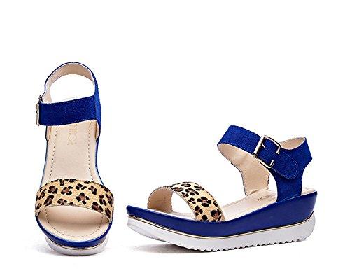 Wealsex damen sandalen bequem sommer schuhe Blau