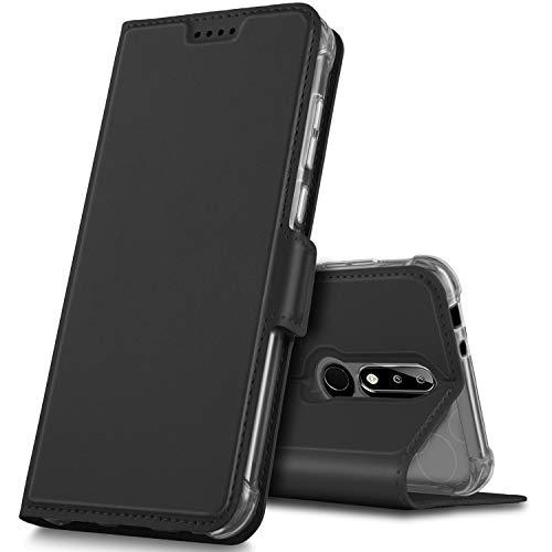 GeeMai Coque Nokia 5.1 Plus, Coque Nokia x5 2018,Flip Coque Premium PU Cuir Portefeuille Étui Housse Coque avec Magnétique avec Emplacement de Cartes pour Nokia 5.1 Plus Smartphone(Noir)