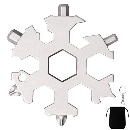AMEU 1 18-in-1 Multiuso, Multistrumento a Fiocco di Neve Multi-Tool Snowflake Mini Cacciavite Portatile in Acciaio Inox per Viaggi in Campeggi, Argento, M