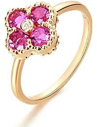 11729dd5da9e Anyeda Anillos de Mujer Hombre 18K Gold Diamante Flor Cómodo para La Boda