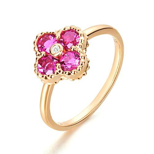 Anyeda Anillos de Mujer Hombre 18K Gold Diamante Flor Oro Rosa Anillos...