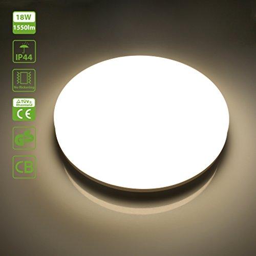 Oeegoo 18W IP44 LED Deckenleuchte Badlampe 1550 Lumens  Ersetzt 100 Watt  Glühbirne Rund Deckenlampe Kein Lärm/Flimmern Für Wohnzimmer Bad FLur Büro  Küche ...