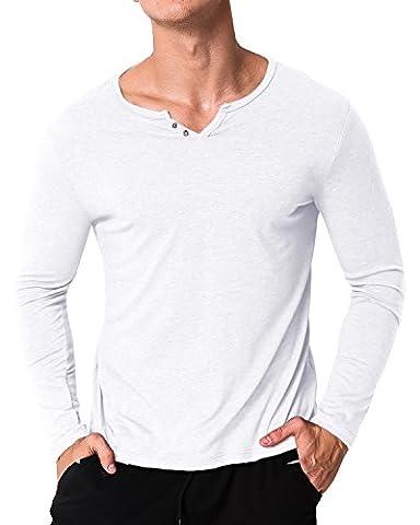 MODCHOK Homme T-shirt Manche Longue Col V Top Tee Pull Basic Coton Couleur Unie Blanc S