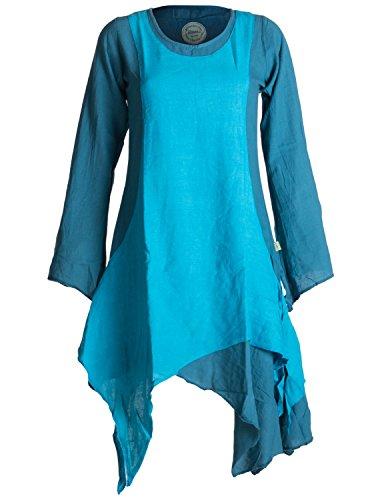 Vishes - Alternative Bekleidung – Langärmliges Zipfeliges Lagenlook Kleid / Tunika aus handgewebter Baumwolle türkis 38 (Kleidung Alternative)