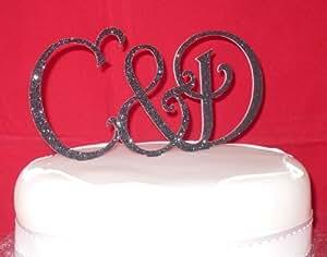 Brand New Black GLITTER Monogram letters-wedding cake ...