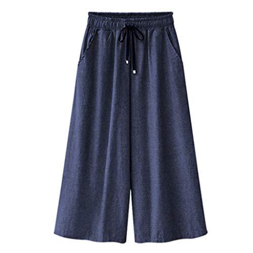KIMODO® Damen elastische Taille weites Bein Hose Einfarbig Lässige Mode Sommer lose Freizeithose Pants