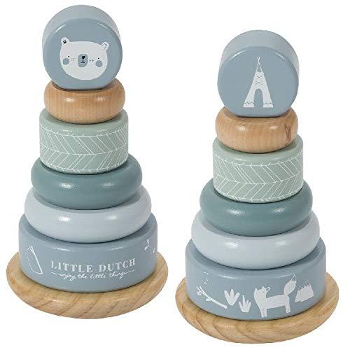 Tiamo 0412014 Little Dutch Pyramide Spielzeug, Blau