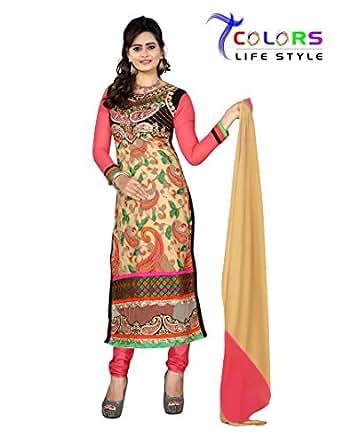 7 Colors Lifestyle Womens Georgette Straight Salwar Suit Set (Amgdr5007Uma _Pink & Beige _Free Size)