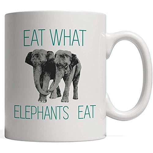 Taza de cerámica Coma lo que comen los elefantes, dulce y divertido Taza vegetariana o vegana