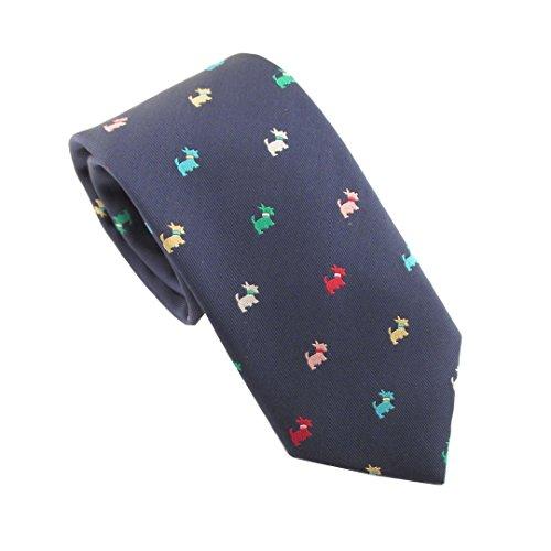 Van Buck England Herren Krawatte blau blau Einheitsgröße Gr. Einheitsgröße, Navy Blue with Multicoloured (Tie Dog Seide Blue)