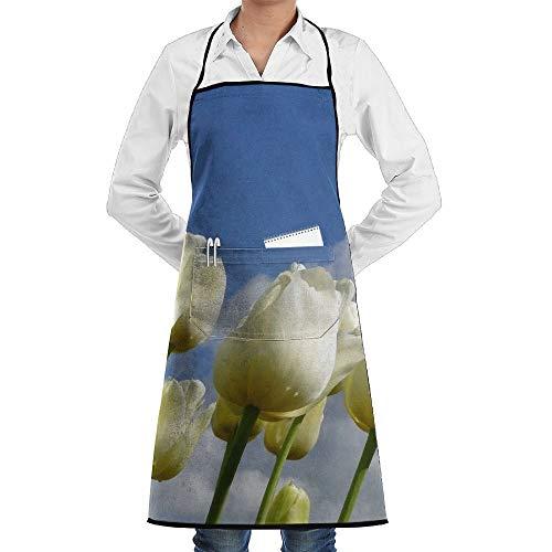 Tulip Kostüm - dfgjfgjdfj White Tulips Flower Schürze Lace Unisex Mens Womens Chef Adjustable Polyester Long Full Black Cooking Kitchen Schürzes Bib with Pockets for Restaurant Baking Crafting Gardening BBQ Grill
