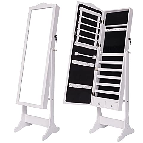 DXP Schmuckschrank Spiegelschrank Standspiegel Weiß Spiegel Deko 156 x 41 x 38 cm Abschließbar JCYJ07