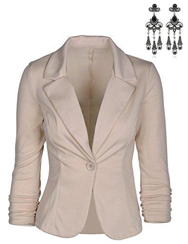 MODETREND Damen Blazer Tailliert Kurz Elegante Langarm Slim Business Anzug Casual Einreihig Kurzblazer Mantel Jacke Oberteil Beige XXL