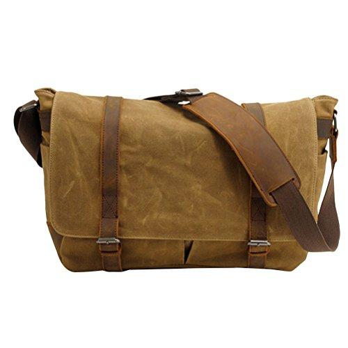 Zhhlaixing Borsa casuale Casual Canvas Camera Shoulder Bag Batik Leather SLR Waterproof Bags Khaki