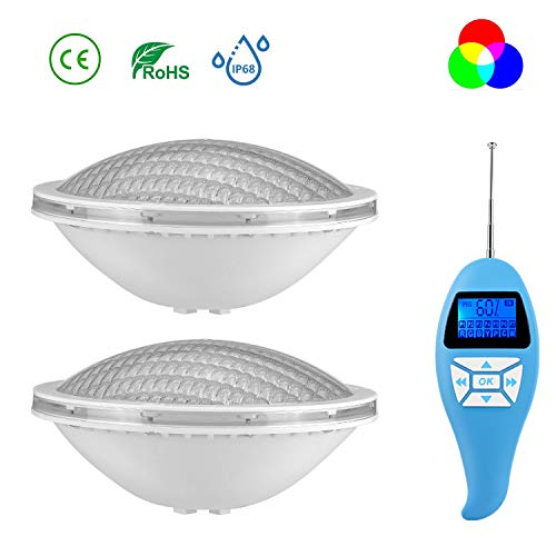 LyLmLe LED Poolbeleuchtung PAR56 20W Poolscheinwerfer Led RGB Farbwechsel mit Fernbedienung, IP68 Wasserdicht LED Unterwasserscheinwerfer, 12V AC(2 Lampen)