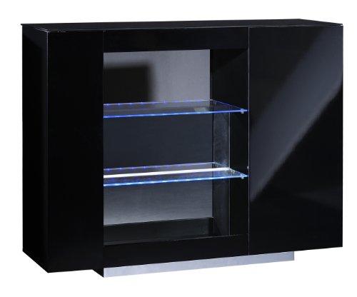 Sciae 13SG4110 VERTIGO 38 Barelement mit 1 Tür, aufgelegte Schwarzglas Platte, 2 Glasböden, Metall Weinglashalter, Sichtrückwand, 50 mm, 125 x 100 x 40 cm, Hochglanz schwarz lackiert