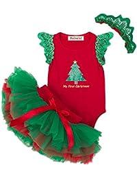 Vestidos de Navidad Para Bebés Niñas Algodón Body + Tutu + Diadema 3 pcs, 0-24 Meses