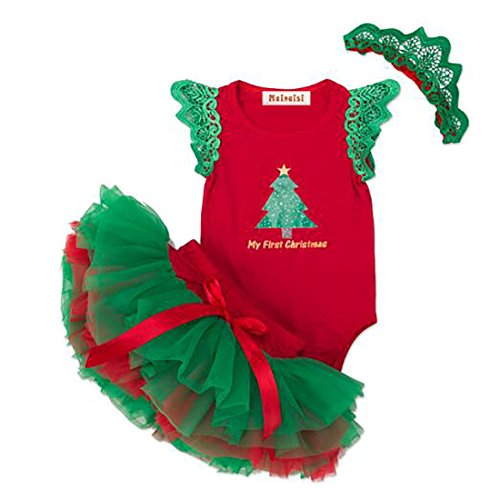 Vestidos de Navidad Para Bebés Niñas Algodón Body + Tutu + Diadema 3 pcs, 12-24 Meses