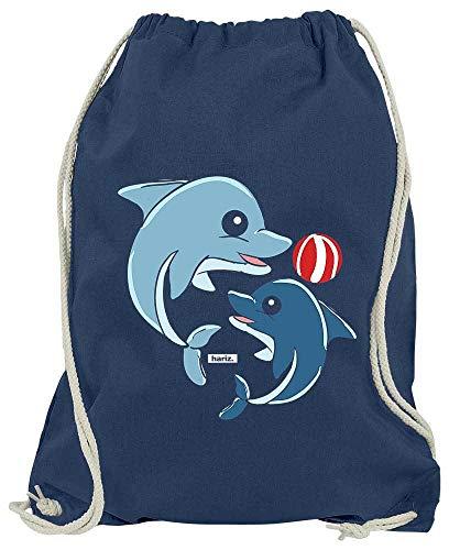 Hunde Kostüm Delfin - HARIZ Turnbeutel Delfine Spielend Mit Wasserball Tiere Zoo Plus Geschenkkarte Navy Blau One Size