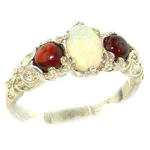 Ladies Solid Sterling Silver Natural Opal & Garnet English Victorian Trilogy Ring - Size W - Finger Sizes L to Z