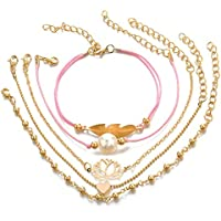 Elenxs Las Mujeres de Bohemia de la Vendimia de la Pulsera de la aleación Ajustable Chica en Forma de corazón de joyería de Perlas brazaletes del Regalo de cumpleaños