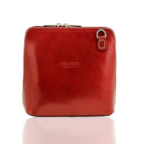 Da donna Fashion Designer piccola borsa a tracolla in pelle italiana di qualità cwv0026 Rosso
