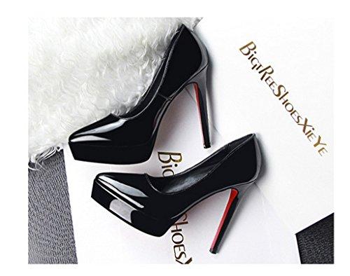 Minetom Femmes Chaussures Élégantes Chaussures Avec Plate-forme Stiletto Talon Slip Sur Brevet Chaussures À Talons Noirs Noir Chaussures