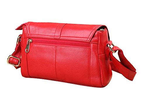 Genda 2Archer Classica Borsa a Tracolla in Pelle Borsa Messenger per le Donne (23cm*9cm*15cm) Rosso