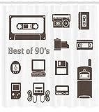 Abakuhaus Anni 90 Tenda da Doccia, Gadget degli Anni 90 Disegno con Desktop Computer Videogioco Joystick Tema Nostalgia, Facile da Pulire, 175 x 200 cm, Marrone