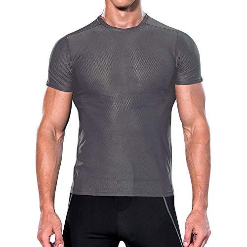 POIUDE Herren T-Shirt Schnell Trocknend Kurzarm Casual Top Fitness tragen Rundhals Bodybuilding-T-Shirt(Grau, Large)