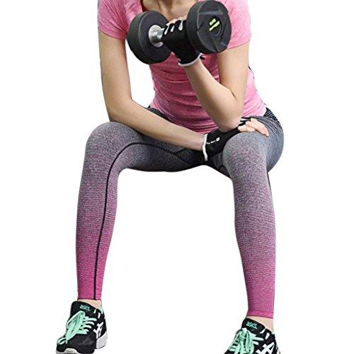 HARRYSTORE Mujer pantalones elásticos de yoga Gradiente de color yoga pantalones especiales leggings deportivos y apretados fitness (M, Rosa caliente)