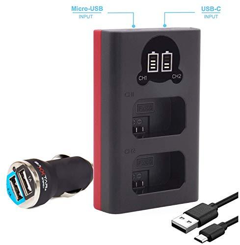Baxxtar Dual LCD 18592 - kompatibel mit Akku Sony NP-FW50 - Mini Ladegerät - Versorgung über USB-C oder Micro-USB - inkl. 2.1A Kfz Adapter - A55 Lcd