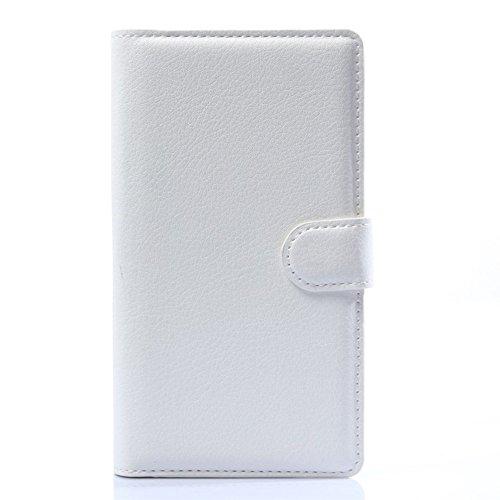jbTec® Flip Case Handy-Hülle zu LG G Flex 2 - Book EINFARBIG - Handy-Tasche Schutz-Hülle Cover Handyhülle Bookstyle Booklet, Farbe:Weiß