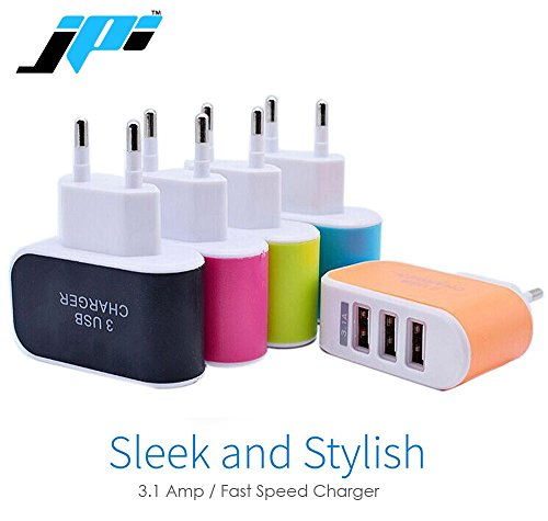 JPI 3/Three USB Ports With LED Triple Fast Charger Universal Travel Wall AC Charger Adapter Compatible For Samsung, Motorola, Sony, Oneplus, Htc, Lenovo, Nokia, Asus, Lg, Coolpad, Xiaomi, Micromax, All Android, Samsung, Windows Phone, Smartphones, Tablets, Music Players - (Assorted Colors)  available at amazon for Rs.169