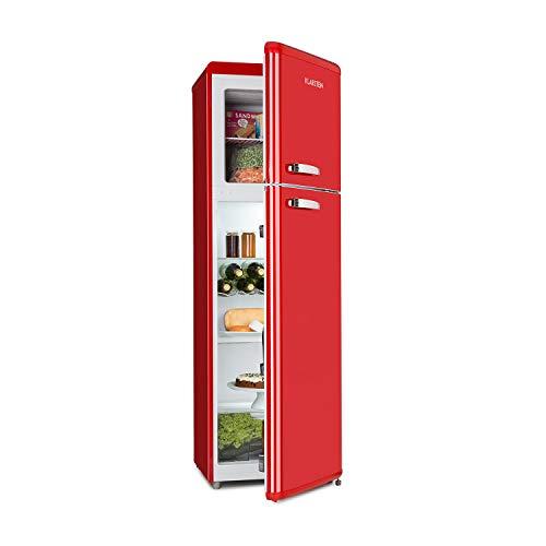 Klarstein Audrey Retro • Combiné réfrigérateur 194 L • Congélateur 56 L • A++ • 3 étagères en verre • 1 grille à bouteilles • 4 compartiments de porte • rouge