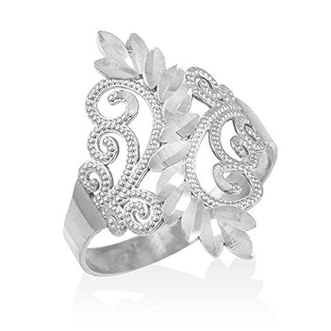 Little Treasures - 10ct White Gold Filigree Diamond Cut Ring