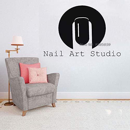 Nail art Studio Salon Sign Decals Wandaufkleber Für Werkstatt Innenwanddekor Kunst Muster Schönheit Finger Brushhand Vinyl LcXL 166 cm x 110 cm -