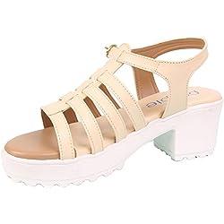Heels |hills for girls | block heels shoes for women| wedges for women heels | Beige