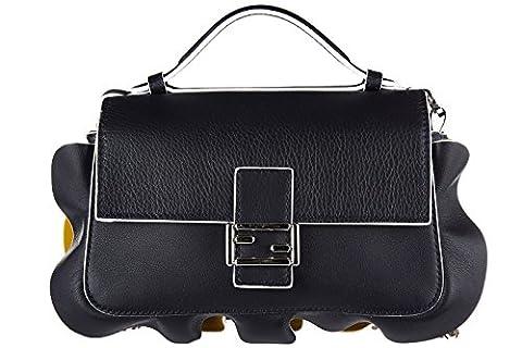 Fendi women's leather shoulder bag original doppia micro baguette calfskin dolce